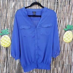 Torrid Sheer blue blouse